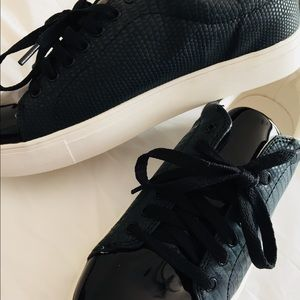 Black faux pleather Cora sneakers